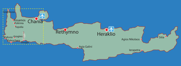 Map location overview: West & South-West Crete